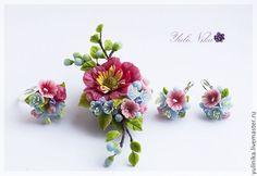 Купить Комплект с весенними цветами - голубой, розовый, весенние цветы, кулон с цветами, серьги с цветами
