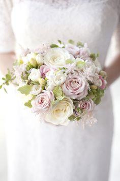 Light pink roses, white freesia and blush astilbe bouquet | Photography: Les Productions De La Fabrik - www.lesproductionsdelafabrik.com  Read More: http://www.stylemepretty.com/destination-weddings/2015/06/03/simple-romantic-parisian-elopement/