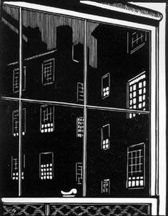 Kitchen Window, c. 1930 by Leo Meissner Uncle Leo, Candle Factory, Night Scenes, Illusion Drawings, Cut Out Art, Cityscape Art, Nyc Art, Window View, Printing Press