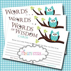 Words of Wisdom Advice Cards, Owl, PRINTABLE Baby Shower Games by The Party Stork YOU PRINT. $5.99, via Etsy.