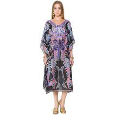 Roberto Cavalli Women Printed Gauze Caftan Dress (4.660 NOK) ❤ liked on Polyvore featuring dresses, multicolor, colorful dresses, multicolored dress, sleeved dresses, multi-color dresses and multi print dress