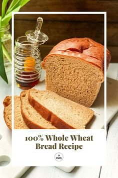 This 100% Whole Wheat Bread recipe makes healthy loaves of soft, incredibly flavorful homemade bread. Sweetened with honey, it's absolutely perfect for toast, sandwiches, or snacking. It also happens to be my favorite homemade bread. Brunch Recipes, Breakfast Recipes, Snack Recipes, Dessert Recipes, Yummy Recipes, Wheat Bread Recipe, Bread Recipes, Baking Recipes, 100 Whole Wheat Bread