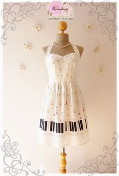 Music Lover White Dress Piano Dress Retro Party by Amordress, $46.50