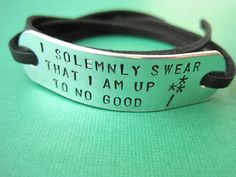 Harry Potter inspired Jewelry - I solemnly swear that I am up to no good - WAND - Personalized Wrap bracelet, Stamped Aluminum. $19.00, via Etsy.