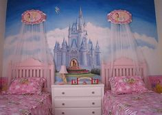 the canopy above each bed..  Cinderellas castle on the wall? PERFECT for little girls room.