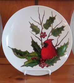 Plate Hand Painted Entirely With Sharpie Markers: Christmas Holly by joyart, $35.00 (includes shipping)