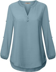 Shop a great selection of Timeson Women's Henley V Neck Chiffon Blouses Split Button Long Sleeve Tunics. Find new offer and Similar products for Timeson Women's Henley V Neck Chiffon Blouses Split Button Long Sleeve Tunics. Blouse Styles, Blouse Designs, Camisa Feminina Plus Size, Tunic Shirt, Tunic Tops, Women's Henley, Tunics Online, Pakistani Fashion Casual, Chiffon Shirt