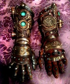 Custom made Steampunk Robot Arm gauntlet. $1,600.00, via Etsy.