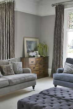drape height, window molding, picture rail, grey///I like this way of painting with the high picture rail …