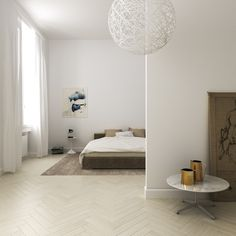 Beautiful minimalist bedroom Looking for a similar low bed? Try: http://www.naturalbedcompany.co.uk/product-category/japanese-beds/