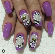 Perfect Colorful Floral Nail Design – 38 It's your turn to have great nails! Check out this year's most … Fingernail Designs, Toe Nail Designs, Colorful Nail Designs, Beautiful Nail Designs, Fancy Nails, Cute Nails, Gell Nails, Clear Nails, Flower Nail Art
