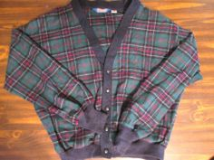 Pendleton Green Tartan Plaid Cardigan Sweater 100% Virgin Wool Men's Large #Pendleton #Cardigan