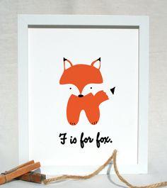 F is for Fox woodland animal nursery portrait illustration