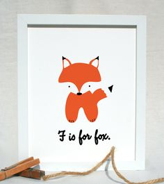 F is for Fox woodland animal nursery portrait illustration