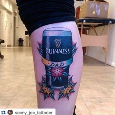 Pint of Guinness by Sonny Joe Tattooer. Spaces available with Sonny next week! Pop down to the studio or email skinsandneedles @ live . co . uk !