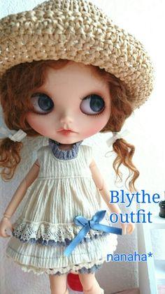 **Blythe outfit** ワンピース、お帽子セット ☆handmade_画像1