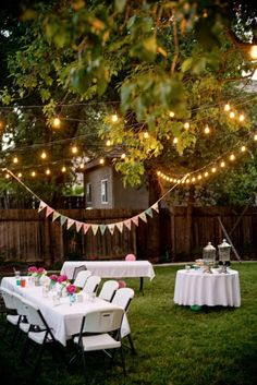 Backyard party decorating