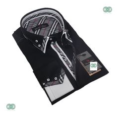 Brand New Men's Formal, Smart, Black with White Double Collar Casual Slim Fit Shirt, with an Amazing Grey, White, Black with a Hint of Red, Plaids & Checks Contrast - NEW DESIGN RRP: £79.99 Our Price: Only £34.99