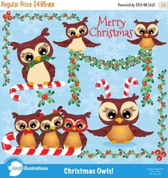 80%OFF Christmas clipart Owl clipart owl clip by AMBillustrations
