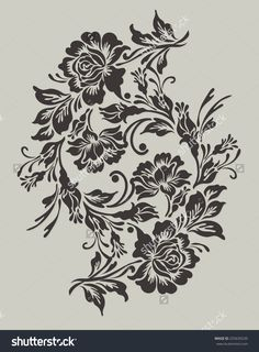 Find Flower Design Elements Vector stock images in HD and millions of other royalty-free stock photos, illustrations and vectors in the Shutterstock collection. Border Embroidery Designs, Types Of Embroidery, Embroidery Patterns, Couture Embroidery, Stencil Patterns, Stencil Designs, Paint Designs, Flower Motif, Gothic Flowers