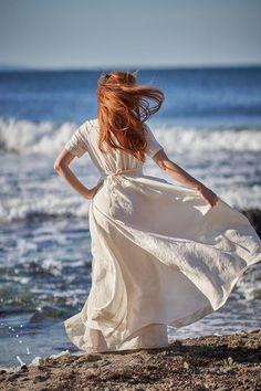 Boho Linen Dress Linen Summer Dress Light Blue Linen Dress   Etsy Boho Wedding Gown, White Wedding Gowns, Wedding Linens, Bridal Gowns, Wedding Dresses, Kaftan, Beach Dresses, Dress Beach, Dress Summer