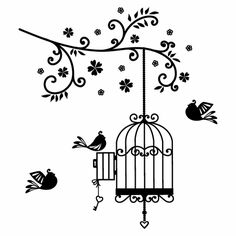 Open Birdcage Drawing Bird Cage Drawing Bird - Clipart Suggest Bird Drawings, Tattoo Drawings, Birdcage Drawing, Black Bird Tattoo, Tattoo Bird, Tattoo Tree, Antique Bird Cages, Art Noir, Wall Painting Decor