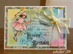 A birthday card for my friend with Stampendous stamp.