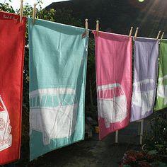 VW van tea towels, would go amazing in a Fiesta Ware kitchen :)