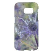 Blue Violet Purple Thistle Watercolor Art Painting Samsung Galaxy S7 Case