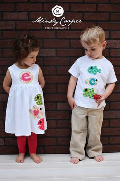 Summer Dress and Shirt Set- Fish Applique- Brother Sister Sibling Set. $55.00 USD, via Etsy.