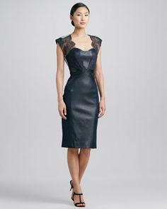 Embroidered Lace & Leather Cocktail Dress by Catherine Deane at Neiman Marcus. - Gawd I heart this dress!