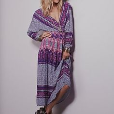 Free people printed dress Retails: 148             Color: royal combo Free People Dresses