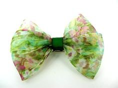 Hair Bow for Girls Green Floral Hair Bow Hair by ZNextDesigns, $4.00