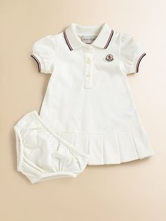 SP '12: MONCLER- Soft, airy pique knit with sporty stripes, perfect for your future tennis star.