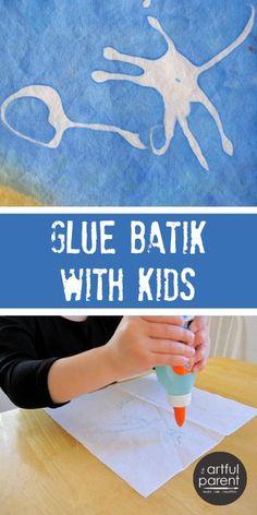 Glue batik art is such fun! Use Elmer's blue gel glue to make this easy kid-friendly batik art on fabric. Glue batik is great for flags and napkins!