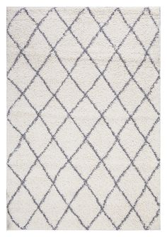 "Ivory and Grey Contemporary Beni Ourain Inspired Trellis Design 5 by 7 Modern Shaggy Area Rug (5'0""X7'0"")"