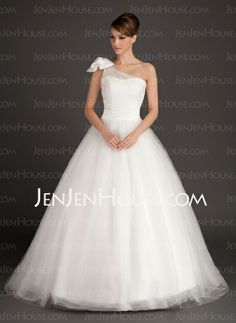 Wedding Dresses - $160.49 - Ball-Gown One-Shoulder Sweep Train Satin Tulle Wedding Dress With Sashes (002015487) http://jenjenhouse.com/Ball-Gown-One-Shoulder-Sweep-Train-Satin-Tulle-Wedding-Dress-With-Sashes-002015487-g15487