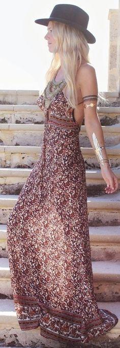 #gypsylovinlight #coachella #hippie #style #spring #summer #inspiration |Revolve Brown Floral Strappy Open Back Maxi Dress