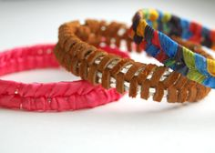 Make Faux Braid Bangles ~ This is cute, just think about using vintage lace and ribbon!