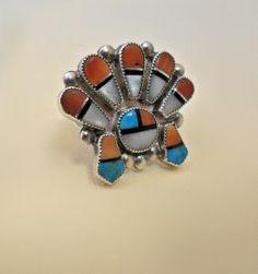 Vintage Multi Stone Inlaid Sunface Ring.    www.EagleDancerGallery.com
