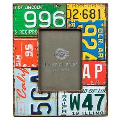 """5"""" x 7"""" Wood License Plate Photo Frame  -- this frame is adorable and will look so cute on the dresser in the nursery - can't wait to see it when it's delivered"""