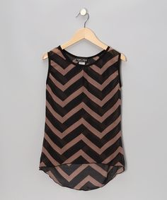 Take a look at this Zoe Black & Brown Zigzag Hi-Low Sleeveless Top on zulily today!