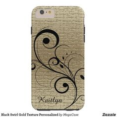 Black Swirl Gold Texture Personalized Tough iPhone 6 Plus Case