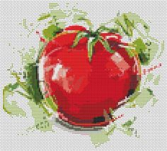 Kitchen Series: Tomato  Mini Cross Stitch by TheArtofCrossStitch