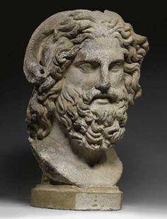 """Marble head of Zeus Ammon, Roman Imperial, c. 120-160 A.D."""