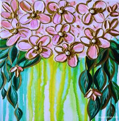 """Floral Abstract Acrylic With Gold Elements """"Anna"""""""