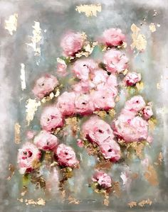 Roses, Rose Gold, gold leaf, fine art, oil painting, vintage, english garden, rose garden. visit amyabig.com or my shop on Etsy. Be Mine by ElizaGraceFineArt on Etsy