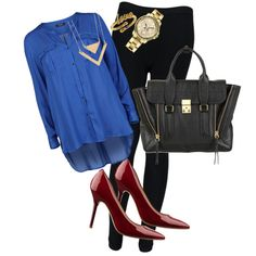 Red, Blue and Gold mixing well together. Night Life, Shoe Bag, Polyvore, Stuff To Buy, Shopping, Collection, Shoes, Design, Women