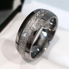 Wedding Band, Meteorite Tungsten Ring, Wedding Band, Wedding Rings