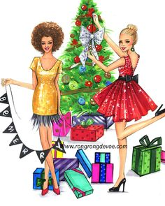 Christmas tree decorating at Christmas Eve! Fashion illustration of Christmas fashionistas by Houston fashion illustrator Rongrong DeVoe. More at www.rongrongdevoe.com